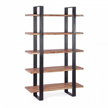 Nowoczesny regał podłogowy ze stali Homemotion z drewnianymi półkami - Lanza