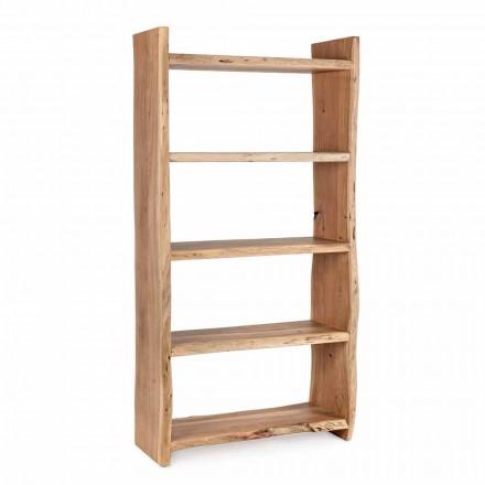 Nowoczesny regał podłogowy z drewna akacjowego z 5 półkami Homemotion - Lauro