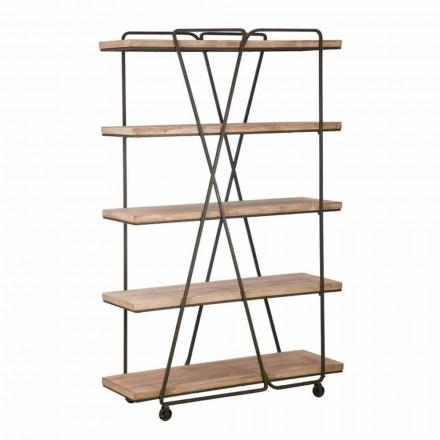 Regał podłogowy w stylu industrialnym z drewna i żelaza - Soline