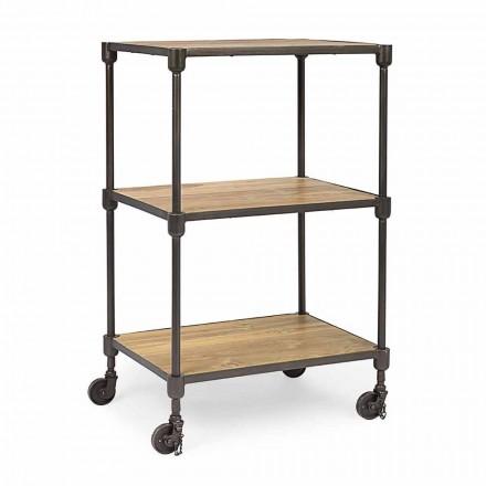 Regał z malowanej stali z kółkami i półkami z drewna tekowego Homemotion - Fulvia