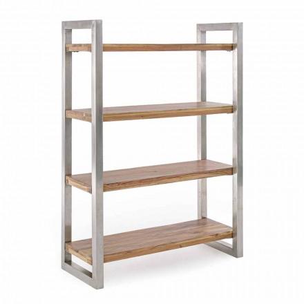 Nowoczesny regał ze strukturą ze stali chromowanej i drewna Homemotion - Lisotta