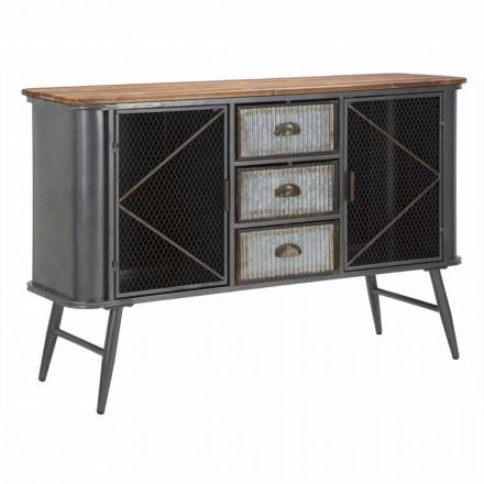 Kredens do salonu w stylu vintage z żelaza i drewna - Akimi