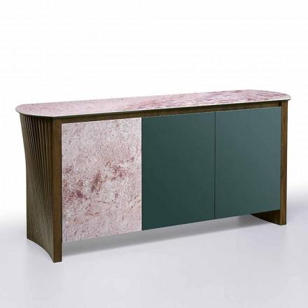 Luksusowy kredens z Gresu ze strukturą z drewna i płyty MDF Made in Italy - Cunea