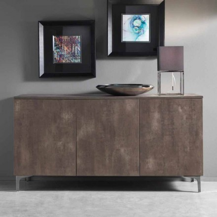 Nowoczesna szafka, trzy drzwiowe drewno melaminowe brązowy lub szary Made in Italy - Clemente
