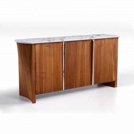Drewniany kredens z blatem z gresu z efektem marmuru, wysokiej jakości wyprodukowany we Włoszech - Wonka