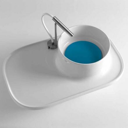 Półka ze zintegrowaną umywalką w błyszczącej białej ceramice Made in Italy - Uber