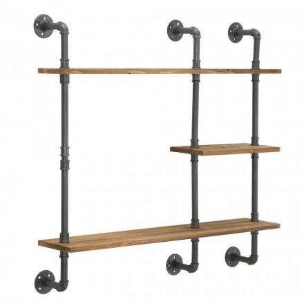 Półki ścienne w stylu industrialnym i nowoczesnym z żelaza i drewna - Katrine
