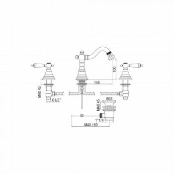 Bateria 3-otworowa do bidetu z mosiądzu Klasyczny design Made in Italy - Shelly