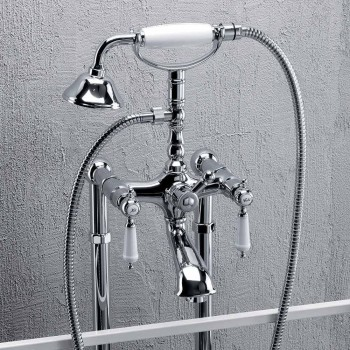 Bateria kolumnowa do wanny z prysznicem z mosiądzu Made in Italy - Shelly