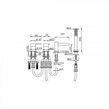 Bateria wannowa 4-otworowa z wylewką wodospadową Made in Italy - Panela