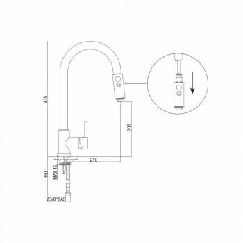 Bateria zlewozmywakowa z regulowanym wężem i prysznicem ręcznym Made in Italy - Cormo