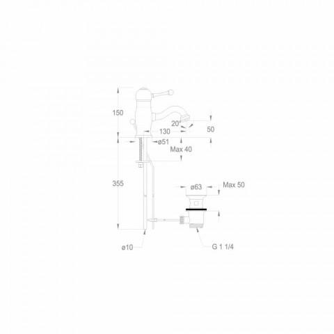 Bateria umywalkowa z chromowanego mosiądzu o wysokości 150 mm Made in Italy - Binsu