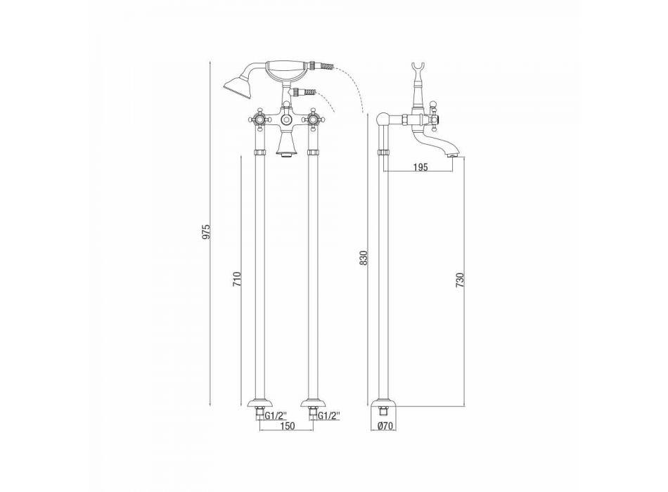 Klasyczna bateria wannowa podłogowa z mosiądzu Made in Italy - Lisca