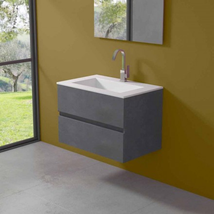 Szafka wisząca do łazienki ze zintegrowaną umywalką w 3 wymiarach - Marione