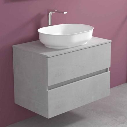 Zawieszone meble łazienkowe z owalną umywalką, nowoczesny design - Cesiro