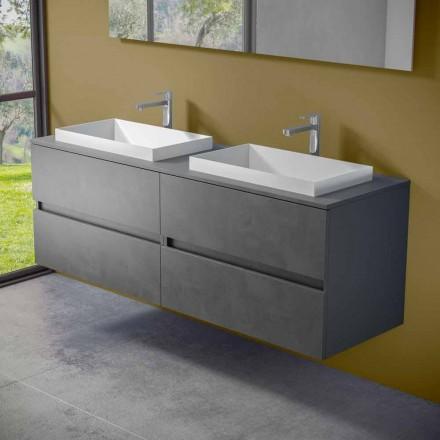 Podwieszane meble łazienkowe z podwójną wbudowaną umywalką, nowoczesny design - Dumbo