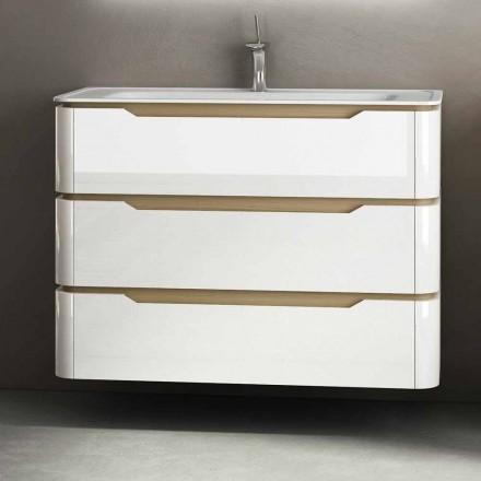 Szafka łazienkowa z 3 szufladami nowoczesnego drewna Arya, wyprodukowana we Włoszech