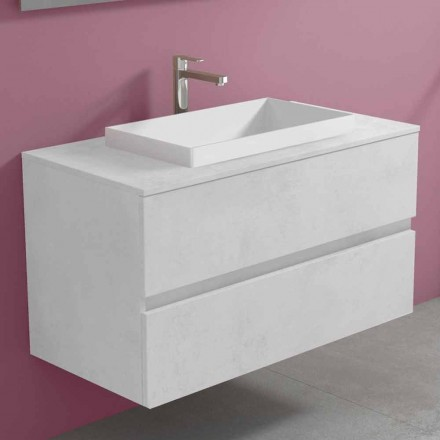 Podwieszana szafka łazienkowa z wbudowaną umywalką, nowoczesny design - Casimira