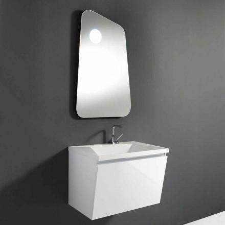 Szafka łazienkowa z umywalką i designerskim lustrem z drewna i marmuru mineralnego - Fausta