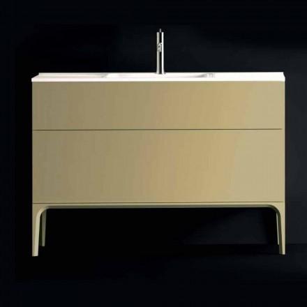 Szafka łazienkowa z umywalką z lakierowanego drewna 120x85x46cm Amber, wyprodukowana we Włoszech