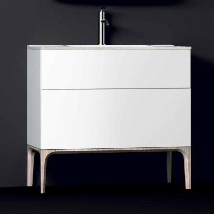 Szafka łazienkowa ze zintegrowanym nowoczesnym zlewozmywakiem Bursztyn, żywica i lakierowane drewno