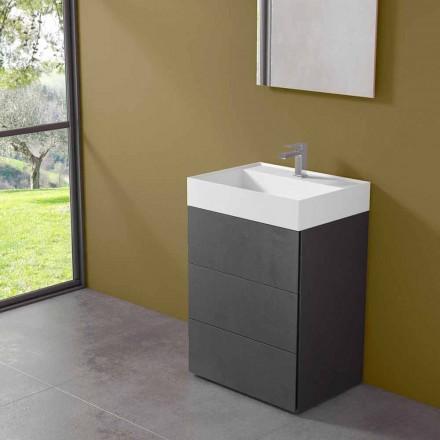 Nowoczesna szafka łazienkowa z podłogą z laminatu z umywalką z żywicy - Pompei