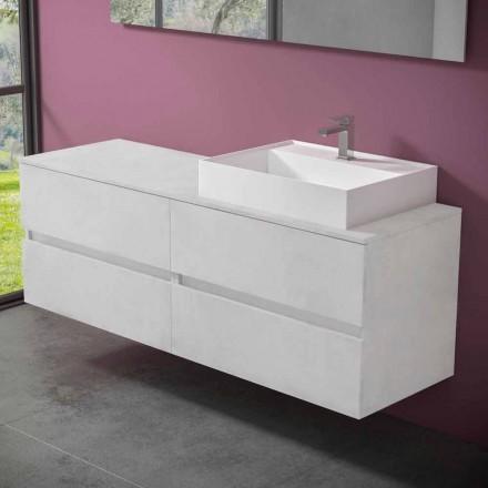 Szafka łazienkowa podwieszana z umywalką nablatową z żywicy design - Alchimeo