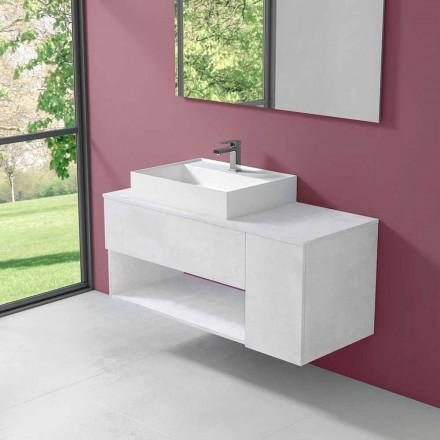 Szafka łazienkowa podwieszana z umywalką nablatową w nowoczesnym stylu - Pistillo