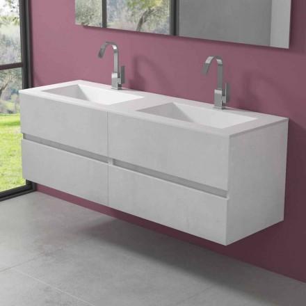 Podwieszana szafka łazienkowa z podwójną umywalką, nowoczesny design w 4 wykończeniach - dublet