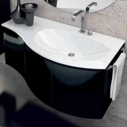 Nowoczesna szafka łazienkowa z trzydrzwiową umywalką w kolorze czarnym lakierowanym drewnem Gioia