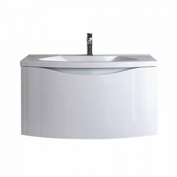 Nowoczesna podwieszana szafka łazienkowa z półką pod umywalkę i designerskim lustrem - Michele