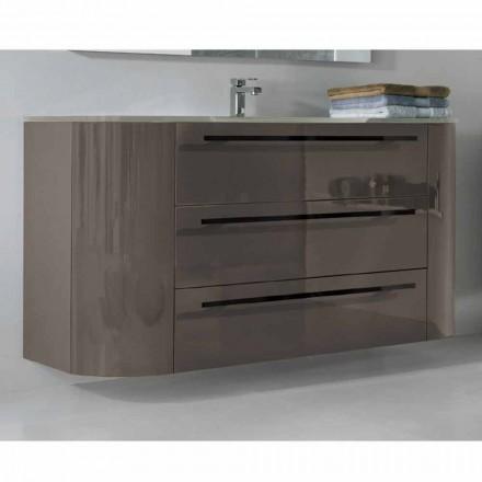 Szafka łazienkowa podwieszana 3 szuflady + 2 drzwi drewniane Zadowolony, zintegrowany zlew