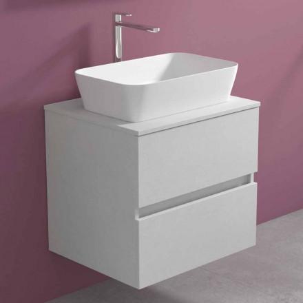 Szafka łazienkowa podwieszana z prostokątną umywalką nablatową, nowoczesny design - Dumbo
