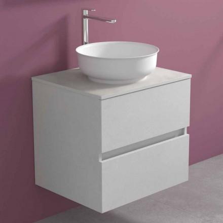 Szafka łazienkowa podwieszana z okrągłą umywalką nablatową, nowoczesny design - Dumbo