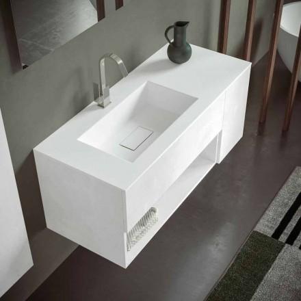 Podwieszana szafka łazienkowa ze zintegrowaną umywalką, nowoczesny design, 4 wykończenia - Pistillo