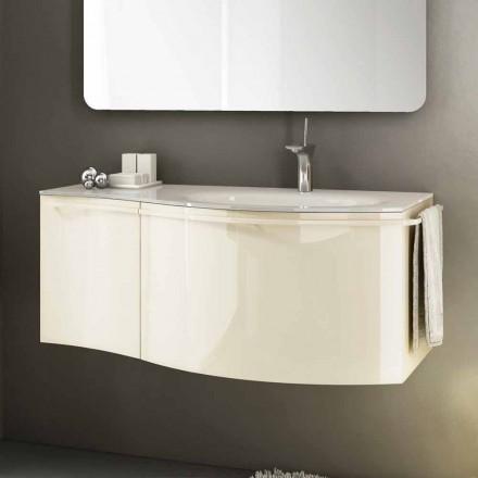 Nowoczesna zawieszona szafka łazienkowa z umywalką w beżowo lakierowanym drewnie Gioia 1