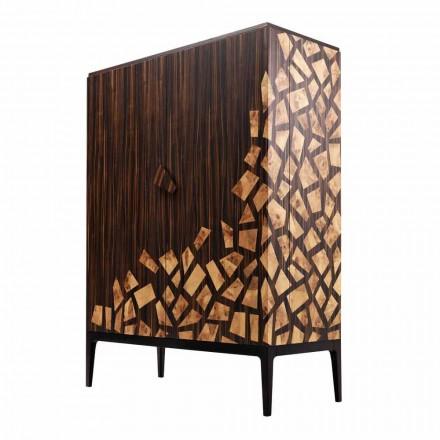 Komoda wysoka 2 drzwiowa design Grilli Zarafa z drewna hebanowego