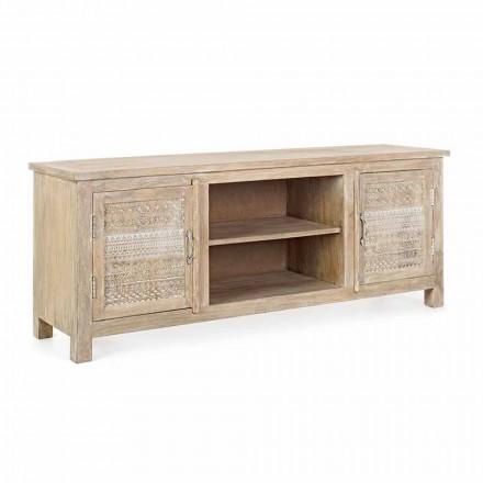 Niska szafka z drewna mango z ręcznie robionymi dekoracjami Homemotion - Zotto