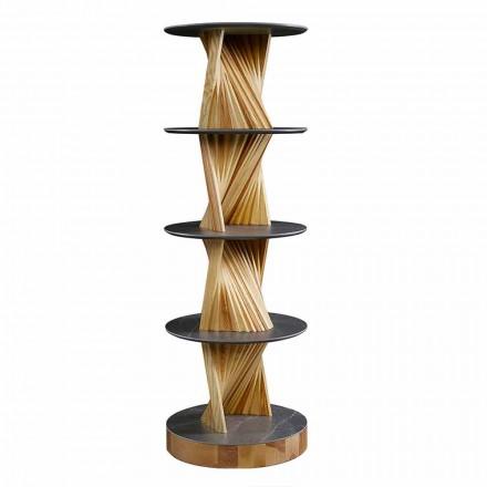 Luksusowa drewniana szafka z okrągłymi półkami z kamionki Made in Italy - Aspide