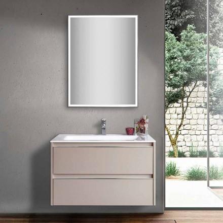 Umywalka łazienkowa Dove Grey z drewna i marmuru mineralnego z lustrem LED - Alfonso