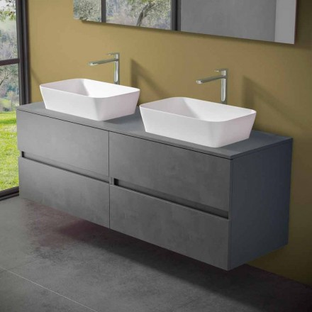 Szafka łazienkowa podwieszana z podwójną umywalką nablatową - mandrillo
