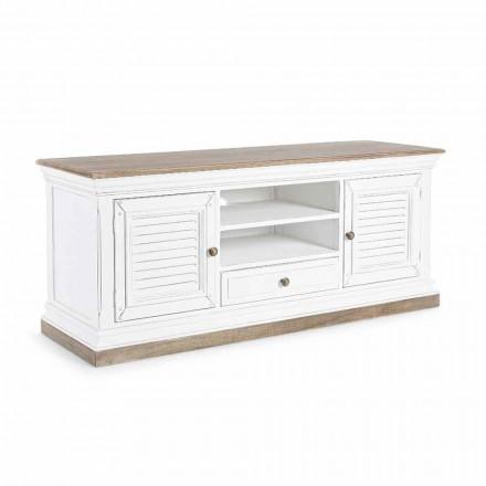 Klasyczny stojak telewizyjny z drewna i płyty MDF z żeliwnymi uchwytami Homemotion - Baffy