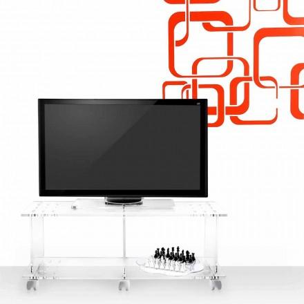 Nowoczesny design szafki tv w przezroczystej pleksi Mago