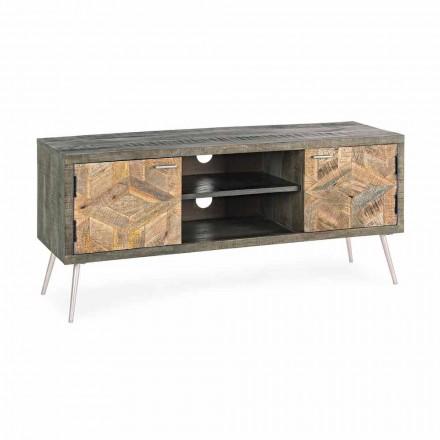 Stolik pod telewizor z drewna z uchwytami i nóżkami ze stali Homemotion - Adiva
