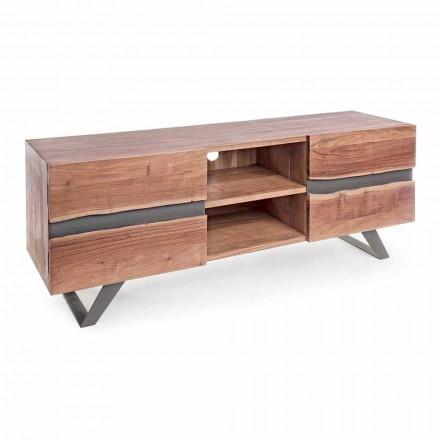 Stojak TV Homemotion z drewna mango z metalowymi wstawkami - Sonia