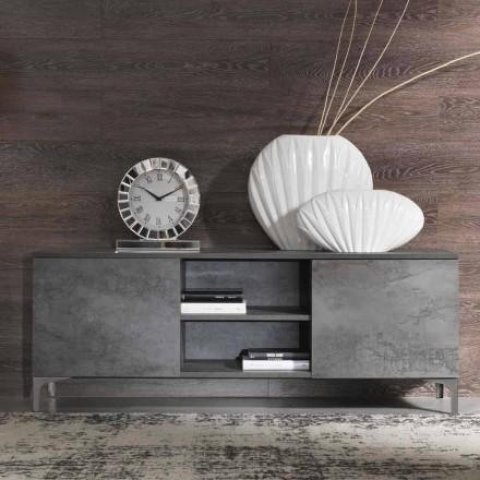 Nowoczesna szafka RTV z dwoma drzwiami z drewna melaminowego Made in Italy - Clemente