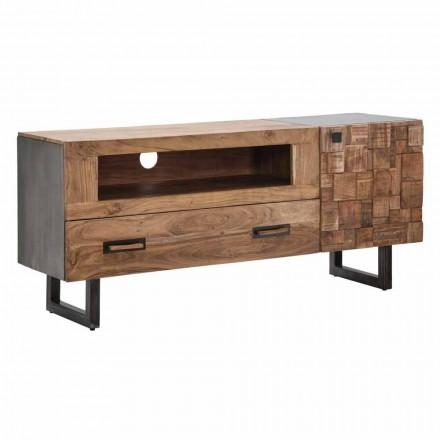 Nowoczesny stojak na telewizor z żelaza i drewna akacjowego z szufladą i drzwiami - Deanna