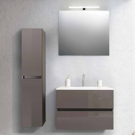 Szafka łazienkowa 80 cm, umywalka, Mirron i kolumna Ecru - Becky