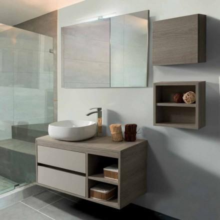 Szafka łazienkowa 100 cm, lustro, umywalka i półka - Becky