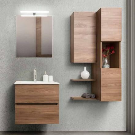 Szafka łazienkowa 60 cm, lustro, umywalka i kolumna - Becky